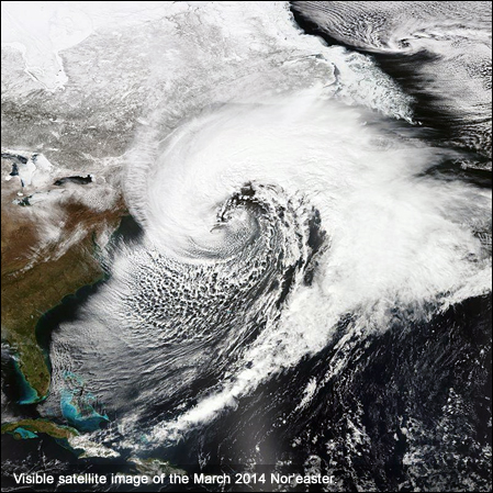 Visible satellite image of the March 2014 Nor'easter.